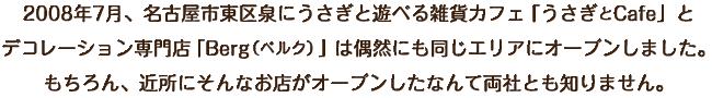 2008年7月、名古屋市東区泉にうさぎと遊べる雑貨カフェ「うさぎとCafe」とデコレーション専門店「Berg(ベルク)」は偶然にも同じエリアにオープンしました。もちろん、近所にそんなお店がオープンしたなんて両社とも知りません。